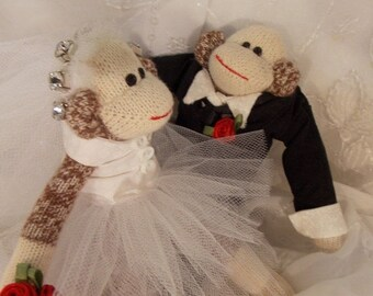 ON SALE Sock Monkey Wedding Cake Topper~Miniature Sock Monkey Couple~Bride and Groom Sock Monkey~Sock Monkey Wedding Decoration