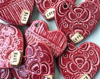 Heart LOVE Ornaments - Raspberry Red