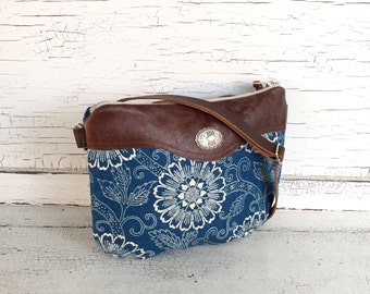 Indigo Linen & Leather Small Cross Body Purse, Shoulder Bag, Messenger Bag, Hip Bag, Fanny Pack