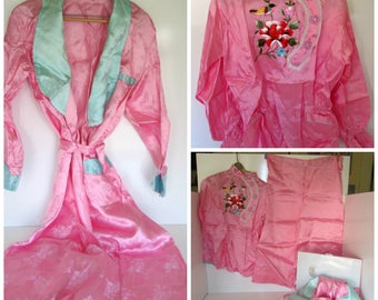 Vintage Hand Embroidered Oriental Asian 3 piece boxed set Robe and 2 piece pajamas, Embroidered Flowers and Birds, Pink Satin size small