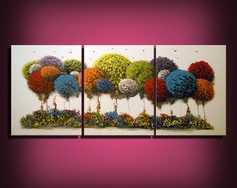 art painting abstract painting large painting wall art home decor surreal landscape red yellow tree painting folk art Mattsart 66 x 28