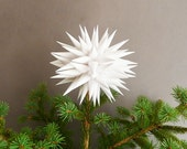 White Christmas Tree Topper Modern Tree Topper Holiday Home Decor Christmas Tree Star Contemporary Tree Topper Paper Snow Ball - Linen White