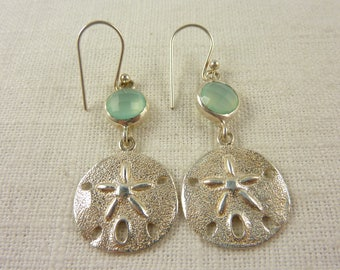 Vintage Sterling and Glass Sand Dollar Hook Earrings