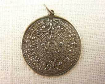 Vintage Mexican Sterling Mayan Calendar Pendant or Charm