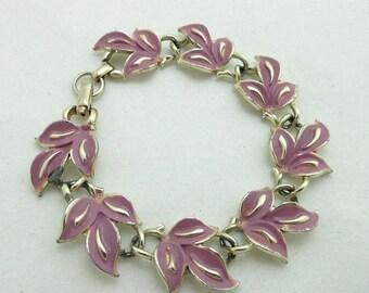 SALE Chain Link Bracelet Silver Tone Designer Signed Leaves Lavender Purple 9003