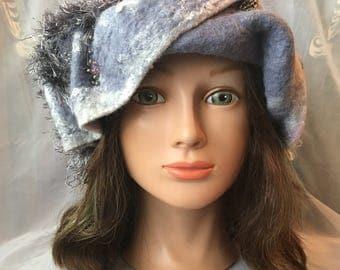 Designer warm wool wet  felted cloche hat grey gray white merino wool Tatiana123 hats