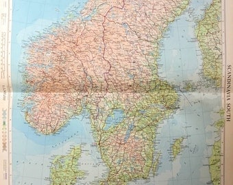 Vintage Map of Scandinavia- South - 1958 Large Map of Southern Scandinavia - Norway - Sweden - Denmark - Finland