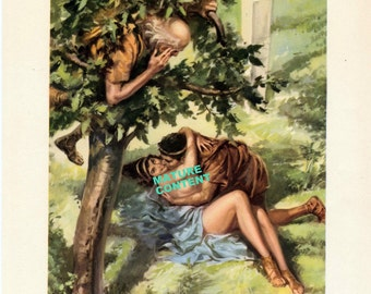 MATURE: 1956 Vintage Print showing a Scene from the Decameron. Illustrated by Gino Boccasile. A Tree-some