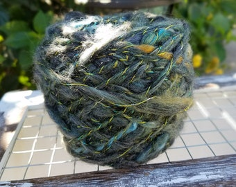 "Hand Spun  Rustic Art Yarn ""Grotto"" by Wildling Art"