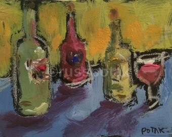 Wine Bottles, still life painting, small works, matted on paper, ready to frame, impressionism, yellow blue, pink wine, vintage look, decor