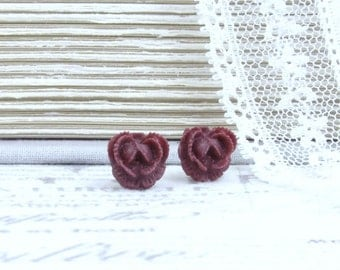 Burgundy Rose Earrings Rose Stud Earrings Burgundy Flower Earrings Surgical Steel Studs Burgundy Flower Studs