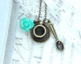 Tea Necklace Tea Party Necklace Tea Cup Necklace Teacup Charm Necklace Shabby Chic Necklace