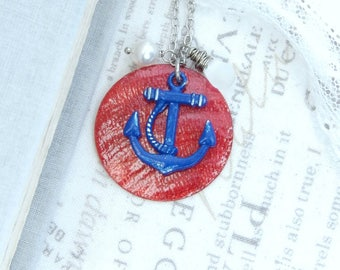 Blue Anchor Necklace Red Shell Necklace Anchor Gift Nautical Necklace Anchor Jewelry