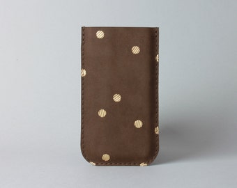 Iphone 7 leather case in chocolate with confetti- iPhone sleeve, minimalist phone case, gift under 30
