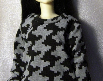 Black/ grey print sweatshirt for MSD, 1/4 bjd DOLL(Limited)