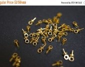 WINTER SALE 18K Gold Plated Bails for Half Drilled Gemstones Pearl Pendant Clasps 6mm  x 3mm x 0.8mm thick  - 20 pcs