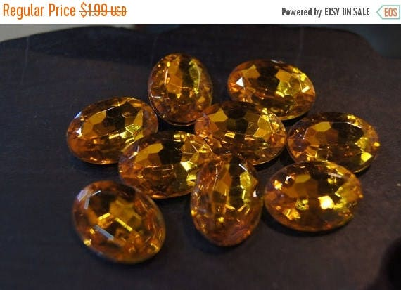 APRIL BLOWOUT SALE Closeout - Faceted Honey Amber Oval Cabochons - 13mm x 18mm - 10 pcs