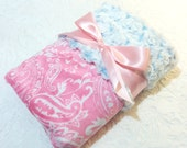 "READY TO SHIP - Christmas Sale -  Minky Baby Blanket - Pink Paisley with Blue Frosted Swirl Minky - Crib  Size 30"" x 36"""