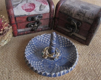 Blue ring holder dish,  ring bowl, antique lace, ceramic ring dish, bridesmaid dish,