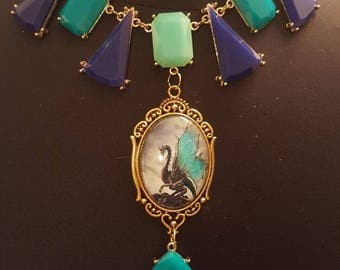 Dragon glass cameo upcycled necklace