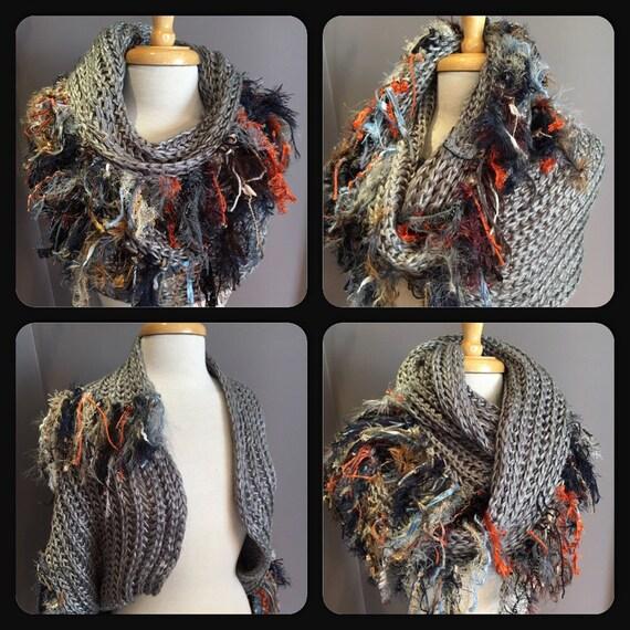 Knit Grey wide infinity scarf, Fringed 'Showstopper', Glitzy Ribbon Fringed Knit Round Loop Infinity, Poncho, grey scarf, knit fringed shawl