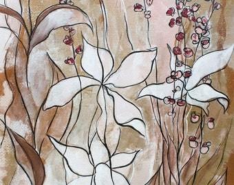 Pink & Gold Vibes - Original Art - Botanical Gouache Painting