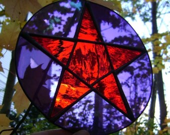 Pentagram Star Wicca Pagan Halloween Samhain Pentacle Stained Glass Witch Pagan Yule Goddess Altar Magic Home Birthday Original Design©