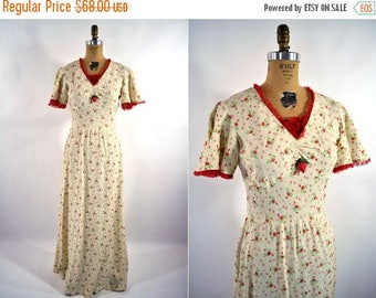 SALE // 1960s dress 60s red maxi floral print S