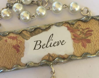 Two sided Soldered Pendant 'Believe' Religious Necklace with Pearl Rosary Chain and Freshwater Pearl Drop