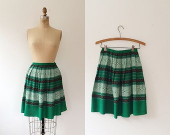 vintage 50s skirt / woven cotton skirt / Circle of Drums skirt