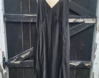 XXL vintage black silk slip, 50, bias cut