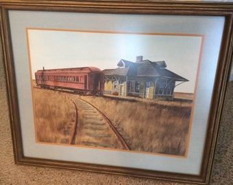 Train Lithograph, Yarnnalton, large print signed in pencil, nicely framed, Lexington and Ohio Railroad