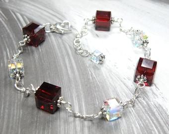 Red Crystal Bracelet, Sterling Silver, Garnet Swarovski Cube, January Birthday, Birthstone Gift, Christmas Holiday Jewelry, Handmade