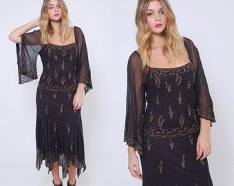 Vintage 80s BEADED Dress Black Boho Sequin Dress Sheer SILK Evening Dress PIXIE Hem Flapper Dress