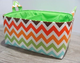 SALE Fabric Diaper Caddy - Storage Container Basket - Organizer Bin - Tote Bag - Bucket- Baby Gift - Nursery - Rainbow chevron - RTS
