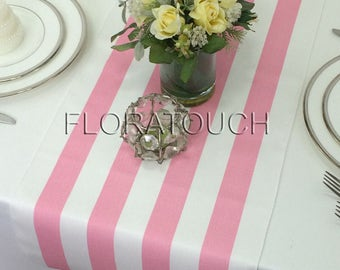 Pink Stripe Table Runner Pink and White Striped Wedding Table Runner with white stripes on the borders