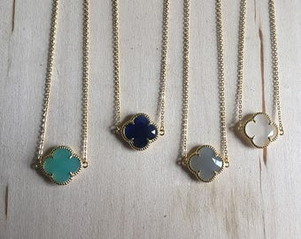 Gold quatrefoil necklace, gemstone quatrefoil necklace, gemstone necklace, quatrefoil jewelry