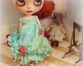 OOAK BLYTHE DRESS - Vintage Styled Shabby Elegance Tattered/Layered/Hand-Dyed Silk Dress  - Sea Greens