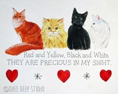 Four Cats Note Cards Whimsical Modern Greeting Cards Original Watercolor Art Contemporary Cats Red Yellow Black White Animals Set of 5 Cards