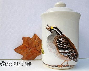 Bird Handpainted Canister with Lid Modern Rustic Home Decor Original Sparrow Painting on Ceramic Houseware Contemporary Decor Gift Under 75