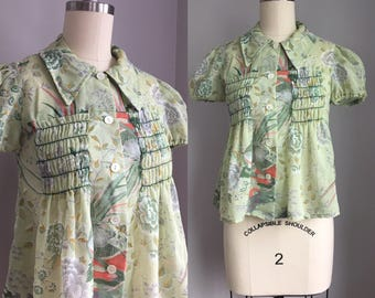 Vintage 1970s Boho Hippie Sheer See Thru Puff Sleeve Asian Floral Bird Print Blouse Top Size XS