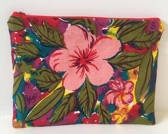 Vintage Tropical Fabric Zipper Pouch/ Pouch/ Makeup Bag