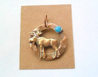 Artisan Copper & Brass Moose with Turquoise Pendant Finding