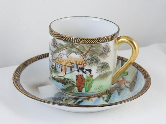 Vintage hand painted Ardalt Occupied Japan demitasse cup and saucer / porcelain / china / bone china / tea / coffee