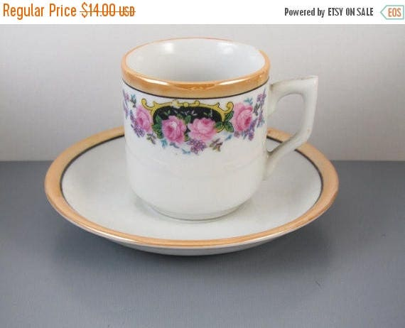 SPRING CLEANING SALE Vintage hand painted Japan demitasse lusterware cup and saucer / porcelain / china / bone china / tea / coffee