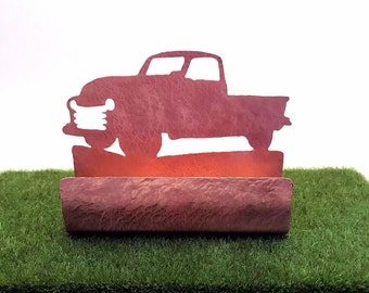 Vintage Style Pickup Truck Business Card Holder Copper Pick-Up Truck Desk Items Antique Truck items Ford Truck lover gifts desk accessories