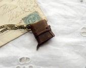 Tiny Tales - Mini Wearable Book, Brown Recycled Leather, Aged Paper - OOAK