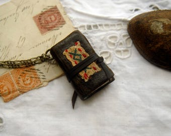 The Little Wanderer - Miniature Wearable Book, Distressed Dark Brown Leather, Tea-Stained Pages, OOAK