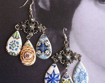 Camellia Chandelier Earrings Portugal 6 Azulejo Tile 17th Century Bohemian History Eclectic -From the Convent our Lady of Hope Lisbon