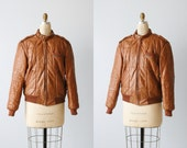 Vintage Members Only Brown Leather Bomber Jacket 1980s / Size 40